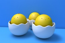 3d卡通蛋模型小黄鸡c4d三维建模