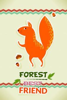 可爱松鼠吃松果动物背景矢量