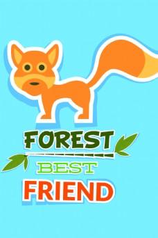 狐狸动物可爱背景矢量