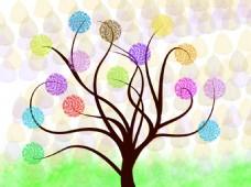 七彩树背景墙设计模板