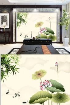 中国风荷花金鱼电视背景墙