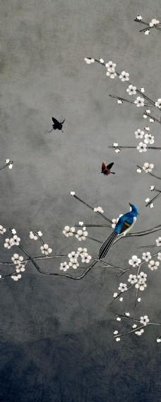 灰蓝色底色小鸟站立枝头粉红色桃花装饰画