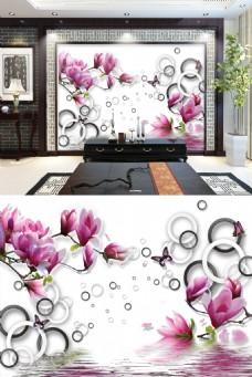 中式花朵立体背景电视墙