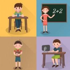 学校教师和学生插图