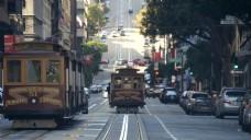 加利福尼亚三藩街上的电车