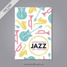 带有彩色乐器的爵士小册子