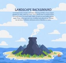 创意海岛火山风景矢量