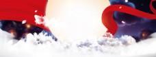 红色丝带淘宝全屏banner背景