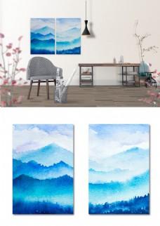 小清新水彩山水画蓝色双联书房客厅装饰画