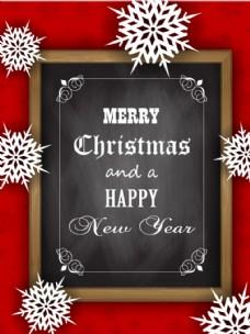 复古圣诞雪花海报