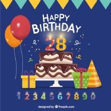 生日蛋糕和其他元素的背景