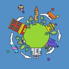 卡通地球绿色蓝色背景