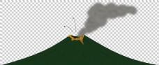 手绘绿色矮火山免抠png透明图层素材