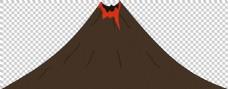 褐色手绘火山免抠png透明图层素材