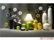 精美花瓶台灯模型