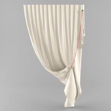 素色窗帘3d模型