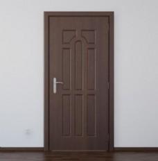 3d效果棕色实木门效果图