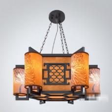 大气高端雅致中式复古风格花纹吊灯素材