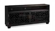 新中式黑色镂空花纹边柜