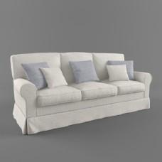 现代素色多人沙发3d模型