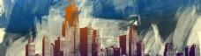 手绘油画城市背景