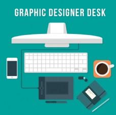 手绘设计师办公桌