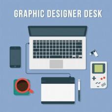 蓝色设计师办公桌