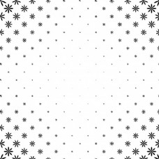单色的程式化的花卉图案-花卉背景矢量