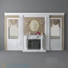 欧式简约时尚室内背景墙3d模型