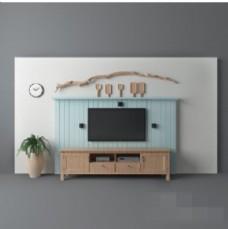 现代时尚创意背景墙3d模型