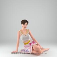 坐着的美女模特模型