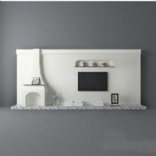 现代简约白色背景墙3d模型
