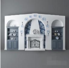现代时尚蓝白色室内背景墙模型素材