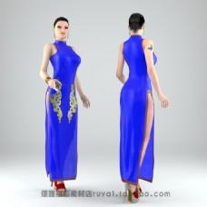 蓝色裙子美女模型