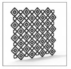 简约方形镂空花纹铁艺模型素材