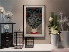 装饰画鸟笼花盆模型素材