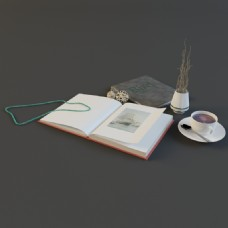 书籍咖啡花瓶模型