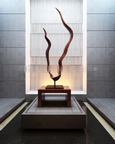 现代装饰品根雕3d渲染效果图