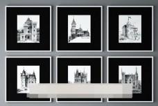 欧洲城堡写生装饰画模型
