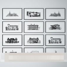欧式建筑钢笔速写装饰画