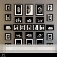 黑白装饰画模型