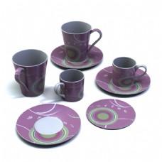 香芋色花纹陶瓷杯子3d模型