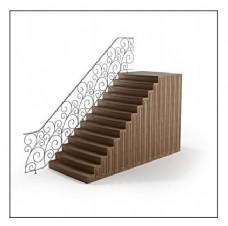 简约花纹扶手木质楼梯3d模型