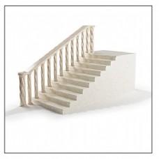 简约白色扶手栏杆楼梯3d模型