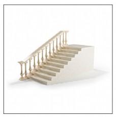 白色带花纹扶手楼梯3d模型