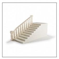 简约花纹带扶手楼梯模型素材