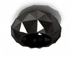 创意黑钻石吸顶灯3d模型