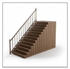 时尚条形花纹扶手木质楼梯3d模型