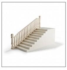 简约白色带扶手楼梯模型素材
