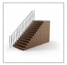 条形花纹扶手木质楼梯3d模型